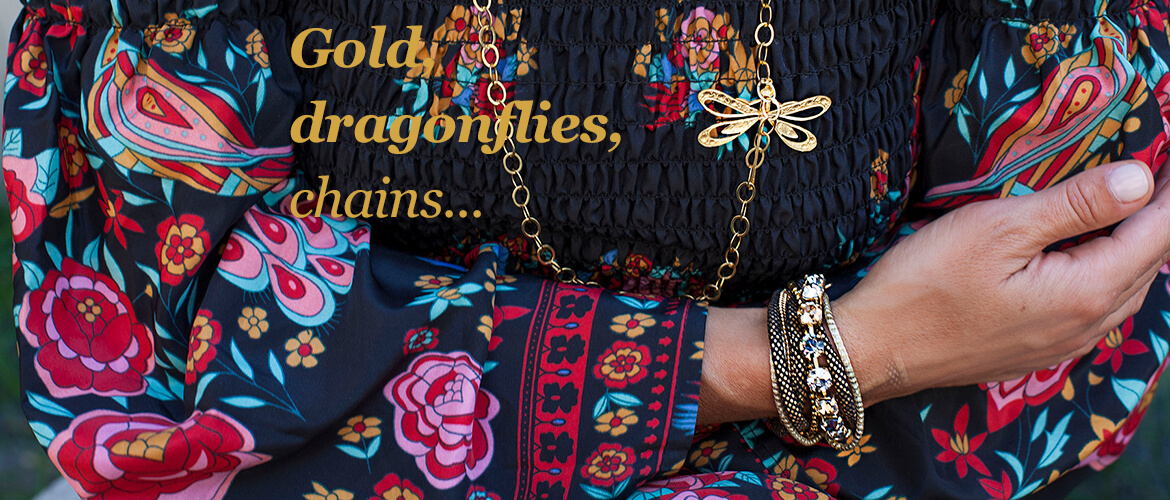 gold, dragonflies, chains...