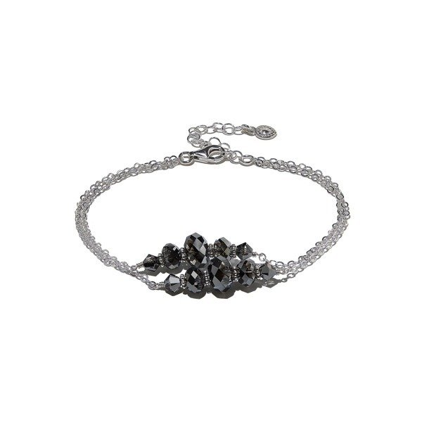 Silver bracelet with black crystals