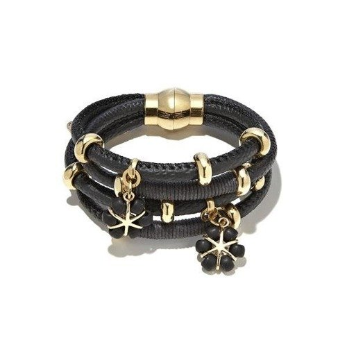Leather bracelet with black flowers
