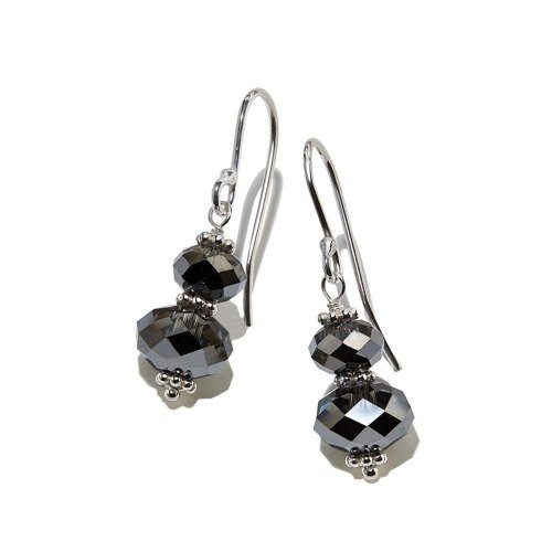 Silver earrings with black crystals